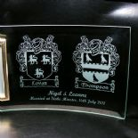 WEDDING Photo Frame PERSONALISED with TWO FAMILY CRESTS, ref PF2C